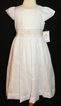 Le' Za Me~Sucre' Heirloom White with Ivory/Ecru Smocked Dress