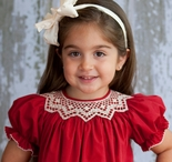Le' Za Me Smocked Christmas Dress in Burgundy for Christmas