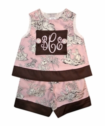 Girl's Monogrammed Dress or Outfit in Pink Kids Toile