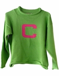 Monogrammed Children's Sweater In Lime And Pink.