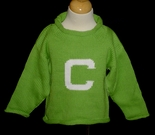 Monogrammed Children's Sweater In Lime And White.