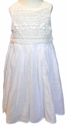 Little Handprint White Embroidered Crochet and Eyelet Bodice Dress