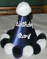 Little Things Birthday Boy Hand Painted Hat in Light Blue, Navy or Royal Blue