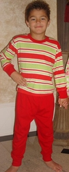 Boy's Christmas Pajamas In Red And Green By Louis Luv.
