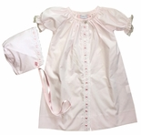 Lullaby Set Baby Girl Pink Coming Home~Day Gown with Satin Ribbon and Optional Bonnet