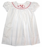 Baby Girl's Monogrammed White Dress By Lullaby Set.