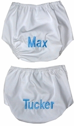 Monogrammed Diaper Cover in White for Boys