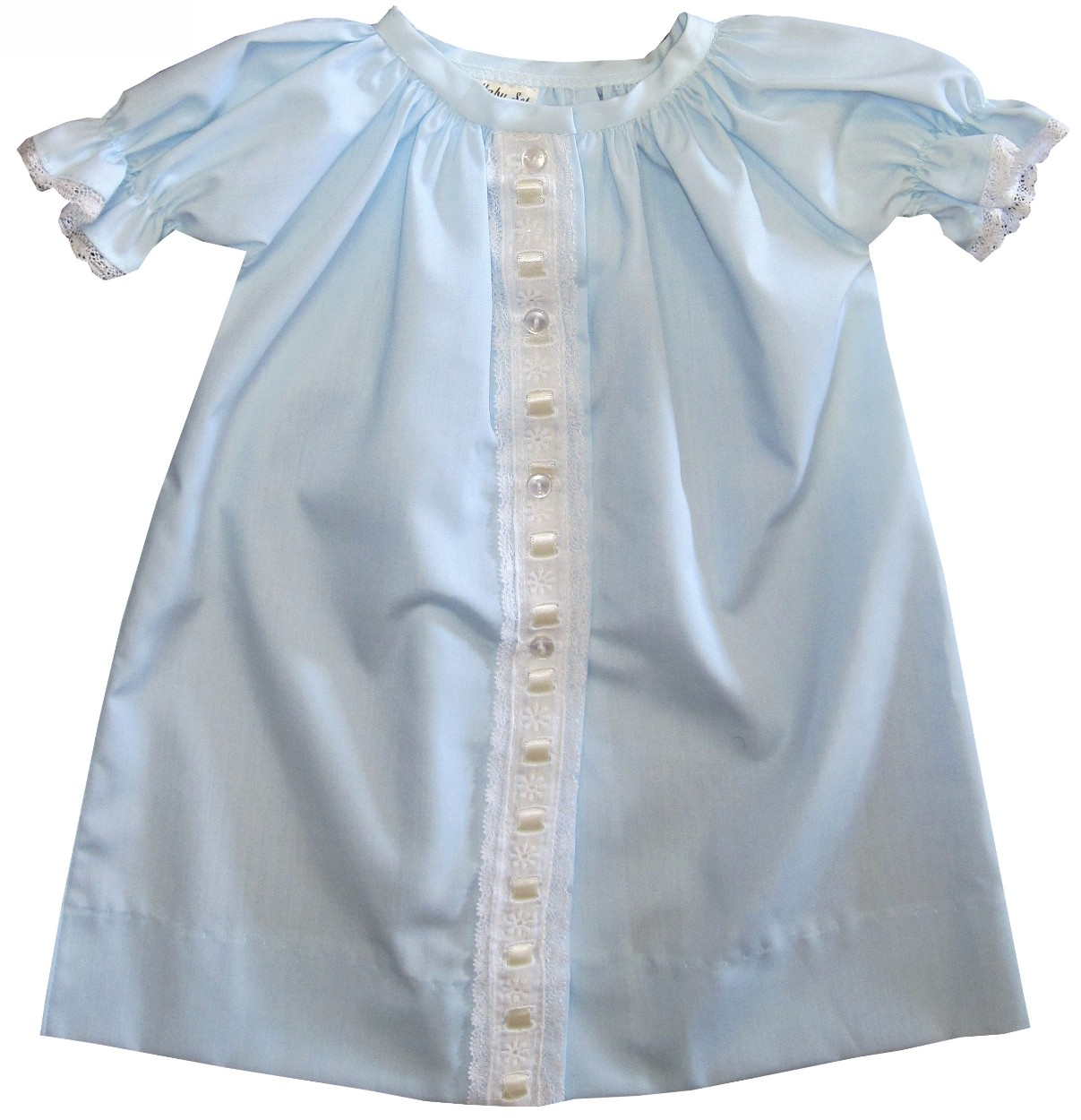 Baby Gown Boy\'s and Girl\'s in Blue & Ecru by Lullaby Set.