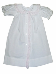 Baby Girl's Day Gown, Coming Home Gown in White and Pink