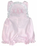 Lullaby Set Pink Seersucker Monogrammable Cross Back Bubble for Baby Girls
