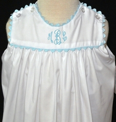 Lullaby Set White Dress with Light Blue Ric Rac Trim