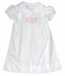 Lullaby Set White Monogrammable Baby Gown for Little Girls with Pink Tatting Trim