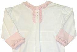 Baby Girl's Day Gown With Pink Ruffles, Rosebuds By Maria Elena.