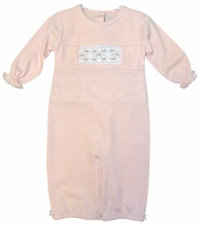 Maria Elena Baby Threads Girl's Pink Pima Cotton Smocked Covertible Gown