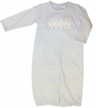 Maria Elena Baby Threads Pima Cotton Boy's Blue Smocked Convertible Gown