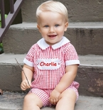 Maria Elena Boy's Monogrammable Tab Red Gingham Straight Bubble