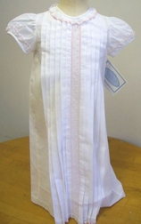 Baby Girl's White Day Gown With Pink Embroidery By Maria Elena.
