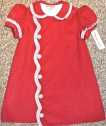 Maria Elena~Little Threads Scalloped Front Dress in Cranberry