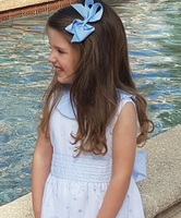 Maria Elena~Marco & Lizzy White with Blue Swiss Dots Dress with Back Sashes and Bow