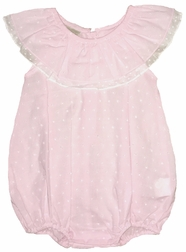 Maria Elena Pink Swiss Dot Bubble with Round Layered Ruffle Collar