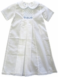 Baby Boy's Smocked White Day Gown With Blue Accents