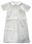 Baby Boy's Smocked White Day Gown With Blue Dots, Maria Elena.