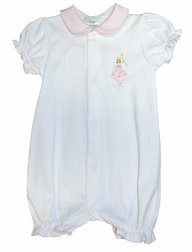 Maria Elena White Pima Cotton with Pink Bubble with Embroidered Fairy