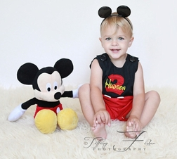 Mickey Mouse Birthday Number Monogrammed Shortall, Longall