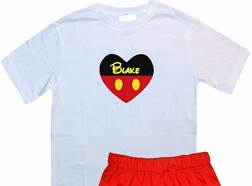 Custom Mickey Mouse Personalized Valentine's Day Heart Outfit for Boys