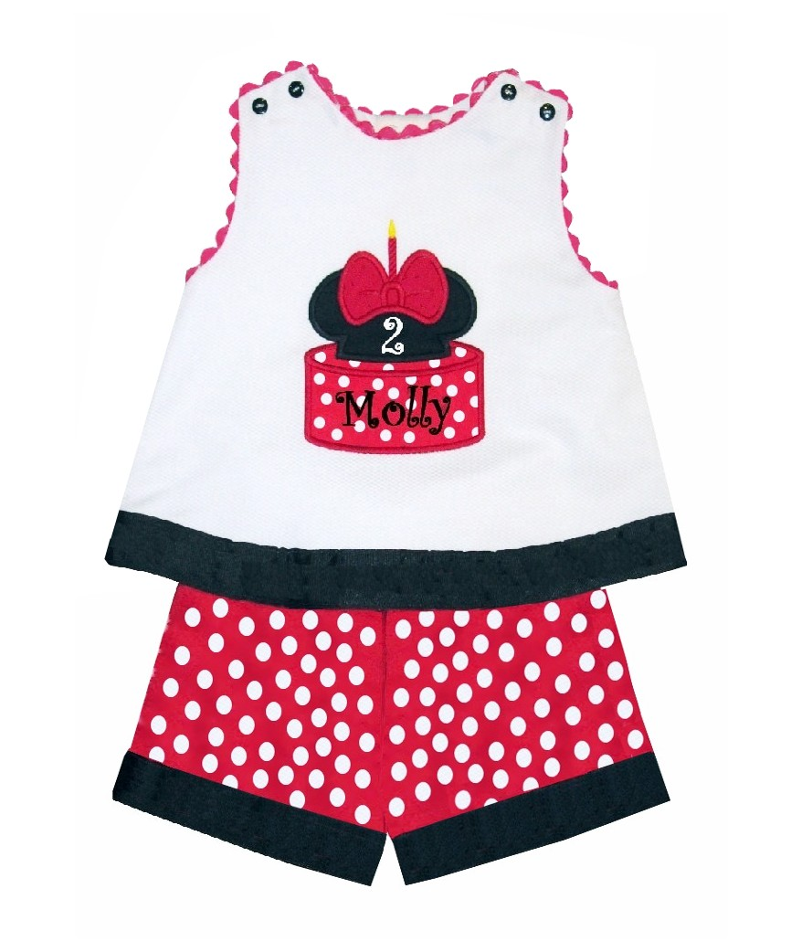 Minnie Mouse Birthday Cake Custom Monogrammed Outfit