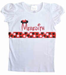 Minnie Mouse Monogrammed Girls Shirt with Disney Ribbon