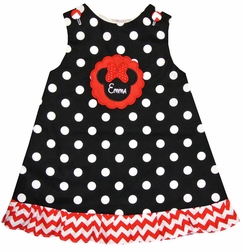 Minnie Mouse Monogrammed Dots Scallop Custom Dress Or Outfit.