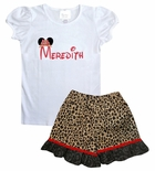 Minnie Mouse Monogrammed Shirt with Safari Hat Minnie Ears Topper or Shirt and Cheetah Shorts