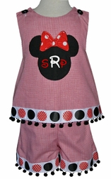 Minnie Mouse Outfit in Gingham and Disney Big Dots Ribbon