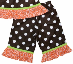 Minnie Mouse Pumpkin Thanksgiving Dress or Outfit in Brown with White Dots and Orange with White Swirls