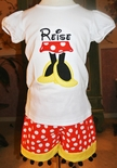 Minnie Mouse Monogrammed Shirt, Legs and Shoes Shirt and Shorts or Capris Outfit