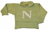 Monogrammed Children's Sweater In White and Mint Green.