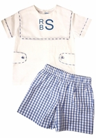Monday's Child Boy's Monogrammable Button Tabs Square Collar Blouse over Blue Gingham Shorts