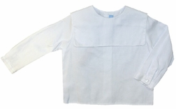 Monday's Child Boy's White Square Collar Blouse with Short Sleeves or Long Sleeves