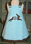 Custom Monogram Girl's Bunny Rabbit Dress with Boa Tail for Easter