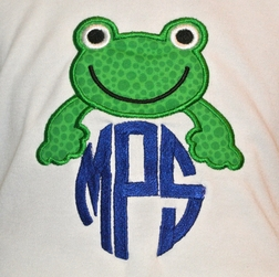 Monogram Frog Outfit in Striped John John or Shorts Outfit
