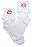 Girl's Monogrammed Socks in White with Eyelet Trim