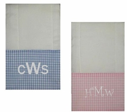 Monogrammed Burp Cloths for Babies in Gingham & Solid Colors