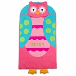Monogrammable Owl Nap Mat or Sleeping Bag for Toddler Girls Day Care Preschool and Kindergarten