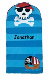Monogrammable Pirate and Pirate Ship Boy Nap Mat for Day Care Preschool Kindergarten or Sleep Overs
