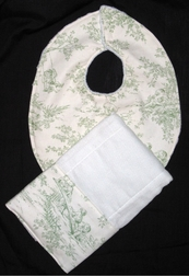 Monogrammed Baby Bib and Burp Cloth Set in Toile