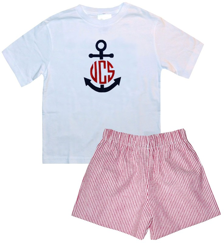 d9255b1e6 Boy s Monogrammed Anchor Custom Blue Seersucker John John or Outfit.