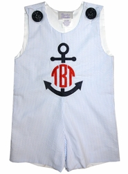 Boy's Monogrammed Anchor Custom Blue Seersucker John John or Outfit.