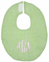 Monogrammed Baby Bibs in Gingham and Solid Colors