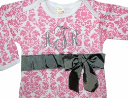Monogrammed Baby Girl Infant Gown in Pink Damask with Optional Blanket, Cap and Headband and Bow